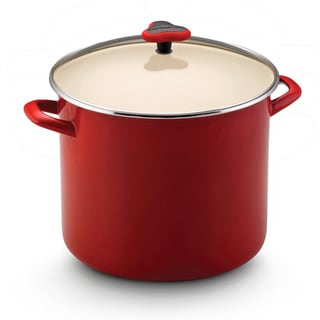 Rachael Ray Enamel on Steel 12-Quart Red Covered Stockpot