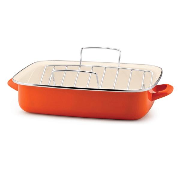 Rachael Ray Enamel on Steel Orange 16.5-Inch Roaster with Rack