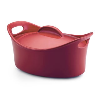 Rachael Ray Stoneware 4.25-Quart Red Casseroval Covered Baking Dish