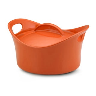 Rachael Ray Stoneware Orange 2.75-quart Casserround Covered Baking Dish