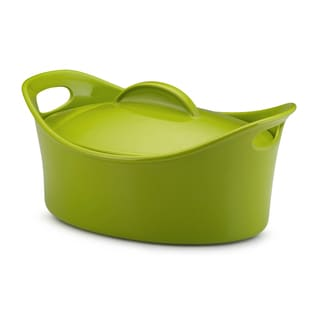 Rachael Ray Stoneware 4.25-Quart Green Casseroval Covered Baking Dish