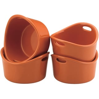 Rachael Ray Stoneware Orange 10-oz Bubble and Brown Ramekins (Set of 4)