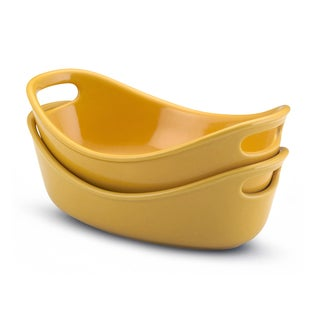 Rachael Ray Stoneware Yellow 12-oz Bubble and Brown Bakers (Set of 2)