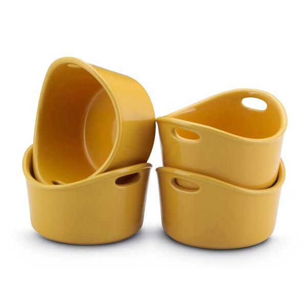 Rachael Ray Stoneware Yellow 10-oz Bubble and Brown Ramekins (Set of 4)