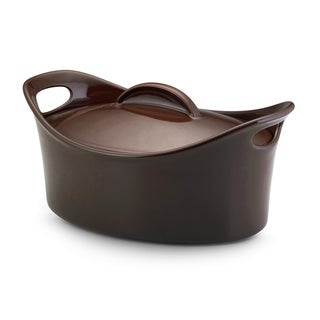 Rachael Ray Stoneware 4.25-Quart Chocolate Casseroval Covered Baking Dish