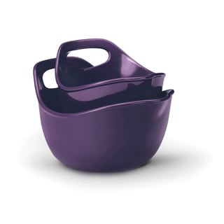 Rachael Ray Stoneware Mixing Bowls 2-piece Set: 1-quart and 2-quart, Purple