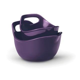 Rachael Ray Stoneware Mixing Bowls 2-piece Set: 1-quart and 2-quart, Purple