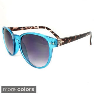 Women's Bright/ Leopard Plastic Oval Sunglasses