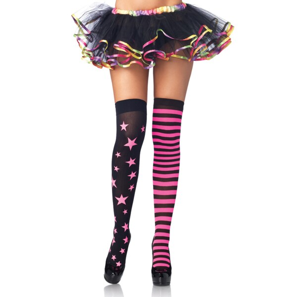 Leg Avenue Women's Pink/ Black Stars/ Stripes Thigh Highs