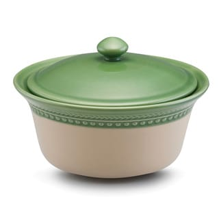 Paula Deen Signature Stoneware Southern Gathering 1-Quart Green Covered Round Casserole Dish