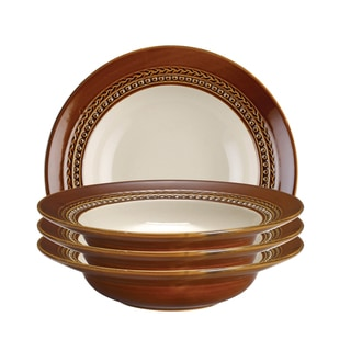 Paula Deen Dinnerware 4-piece Soup Bowl Set-Southern Gathering, Chestnut 9-inch