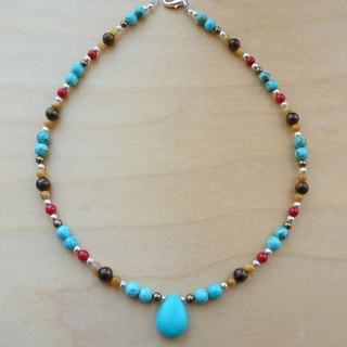Every Morning Design Turquoise and Tiger Eye Necklace