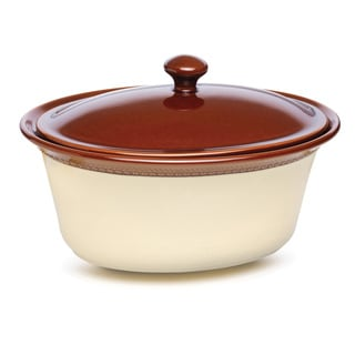 Paula Deen Signature Stoneware Southern Gathering 3.5-Quart Brown Covered Oval Casserole Dish