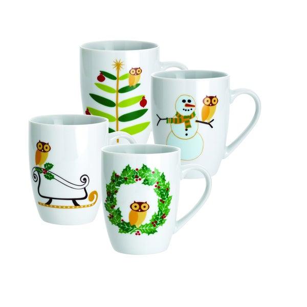 Rachael Ray Holiday Hoot 11-ounce Mugs (Set of 4)