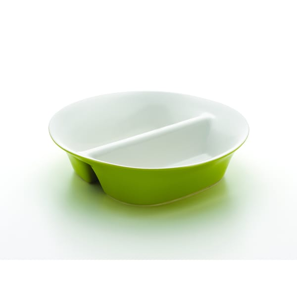 Rachael Ray Round and Square 12-inch Green Divided Dish 10171256
