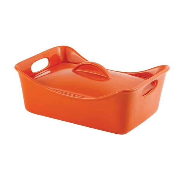 Rachael Ray Stoneware 3.5-quart Orange Covered Casserole Dish