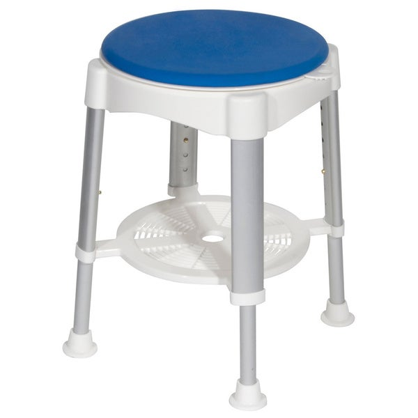 White Drive Medical Bath Stool with Blue Padded Rotating Seat