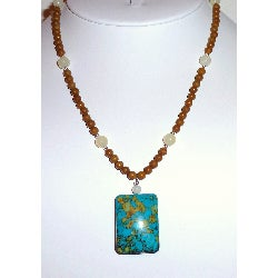 Every Morning Design Bold Turquoise Rectangle Necklace