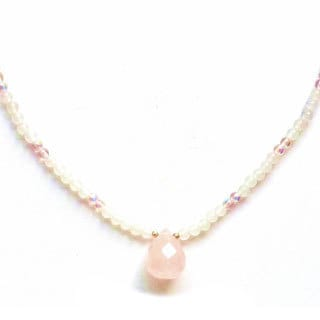 Every Morning Design Pink Quartz Faceted Drop Necklace