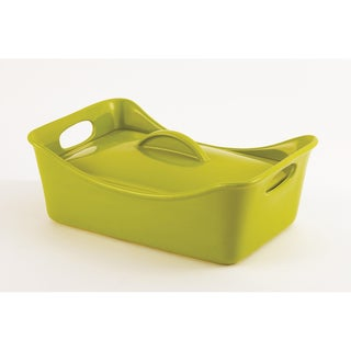 Rachael Ray Stoneware 3.5 Quart Green Rectangle Casserole Dish