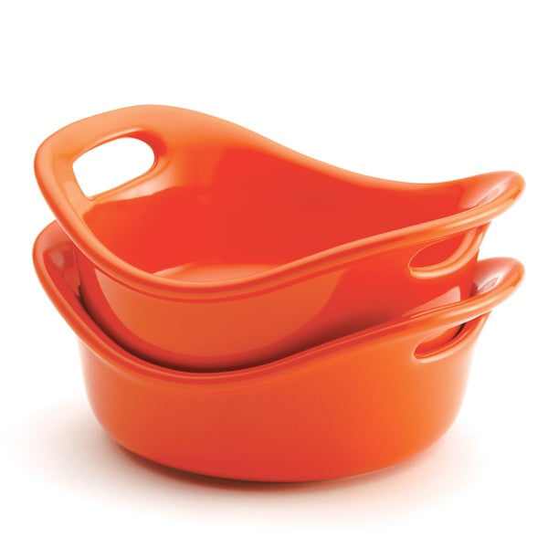 Rachael Ray Stoneware 2-piece 12-ounce Round au Gratin, Orange
