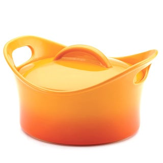 Rachael Ray Stoneware 2.75-Quart Gradient Orange Round Covered Casserole