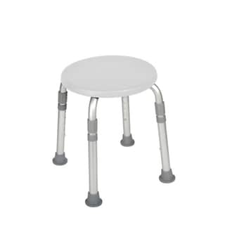 Adjustable Height White Bath Stool