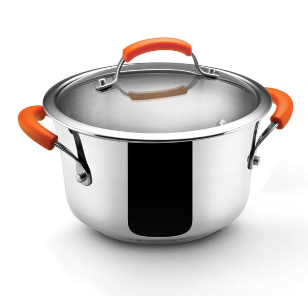 Rachael Ray Stainless Steel Cookware Orange Handles 4-Quart Covered Saucepot