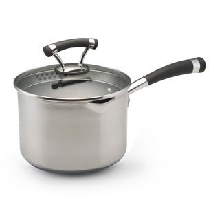 Circulon Contempo Stainless Steel 3-Quart Covered Straining Saucepan