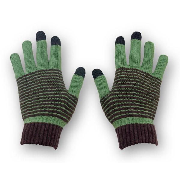 Solegear Women's Green Stripe Touch Screen Smart Gloves