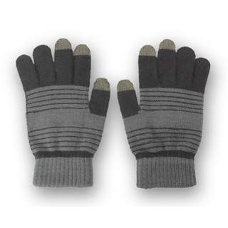 Solegear Men&#39;s Grey Stripe Touch Screen Smart Gloves