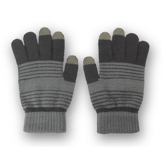 Solegear Men's Grey Stripe Touch Screen Smart Gloves