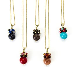 Brass Elegant Gemstone Pendant Necklace (Thailand)