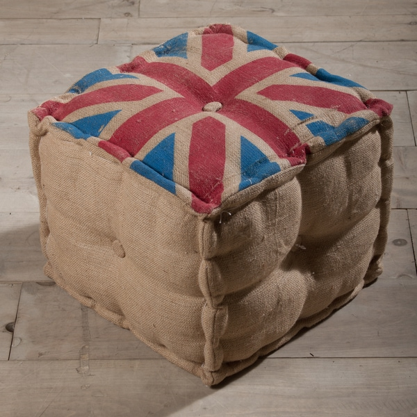 Union Jack Burlap Pouf Ottoman (India)