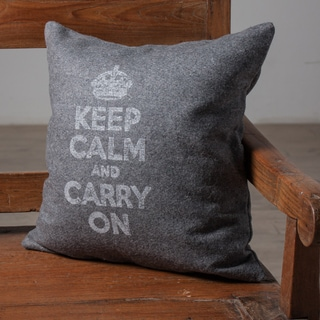 Keep Calm Charcoal Accent Pillow (India)