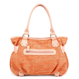 Kroo Neviss Peach Woven Staw Satchel Bag