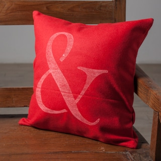 Ampersand Red Accent Pillow (India)