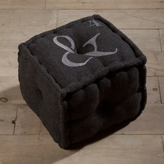 Ampersand Grey Wool Pouf Ottoman (India)