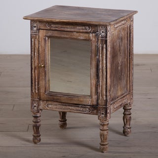 One-Door Mango Wood Nightstand with Mirror (India)