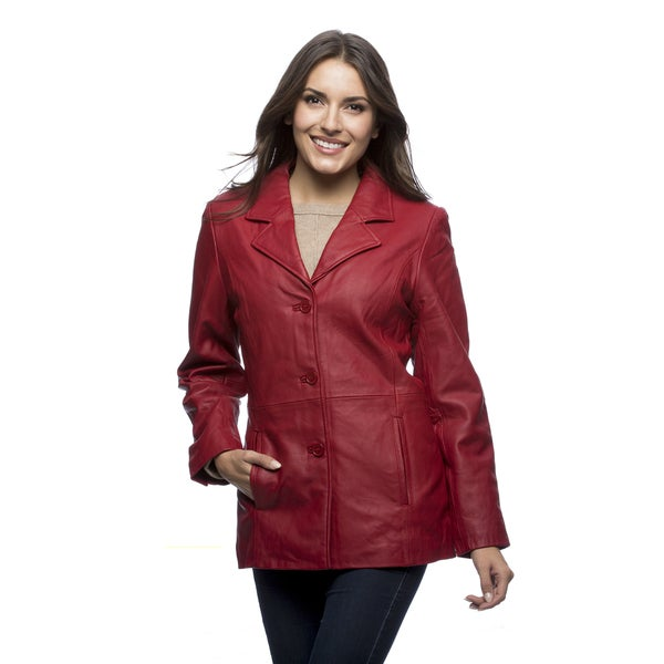 Excelled Women's Black Leather Button Front Stroller Jacket