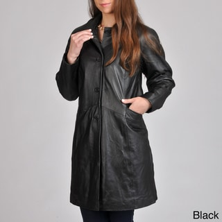 Excelled Women's Leather Button-front Swing Coat