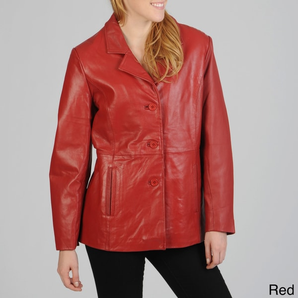 Excelled Women's Leather Button-front Blazer