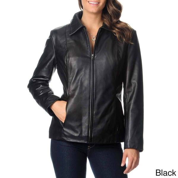 Excelled Women's Leather Zip-front Scuba Jacket
