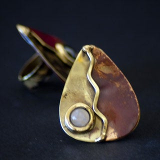 Brass and Copper Rose Quartz Leaf Design Ring (South Africa)