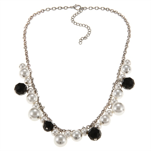 Alexa Starr Silvertone Black Glass and White Faux Pearl Necklace
