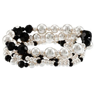 Alexa Starr Faux Pearl and Glass Bead 5-row Stretch Bracelet Set