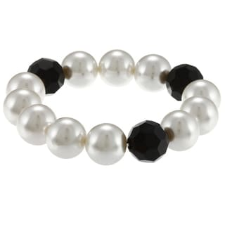 Alexa Starr Black Glass and White Faux Pearl Stretch Bracelet
