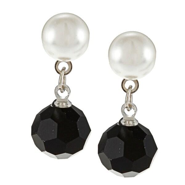 Alexa Starr Silvertone Black and White Faux Pearl Earrings
