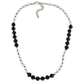 Alexa Starr Silvertone Black and White Faux Pearl Blocked Short Necklace