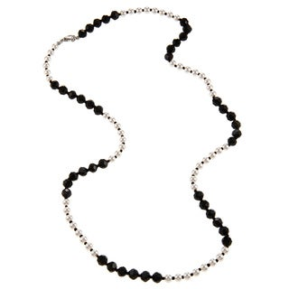 Alexa Starr Faux Pearl and Black Glass Color Blocked Long Necklace